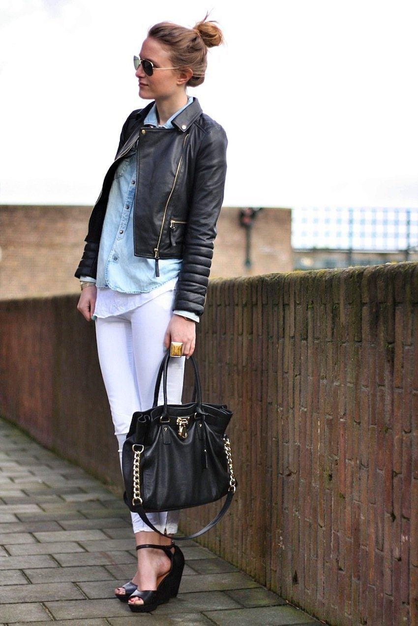 zara leather jacket-white jeans-michael kors bag