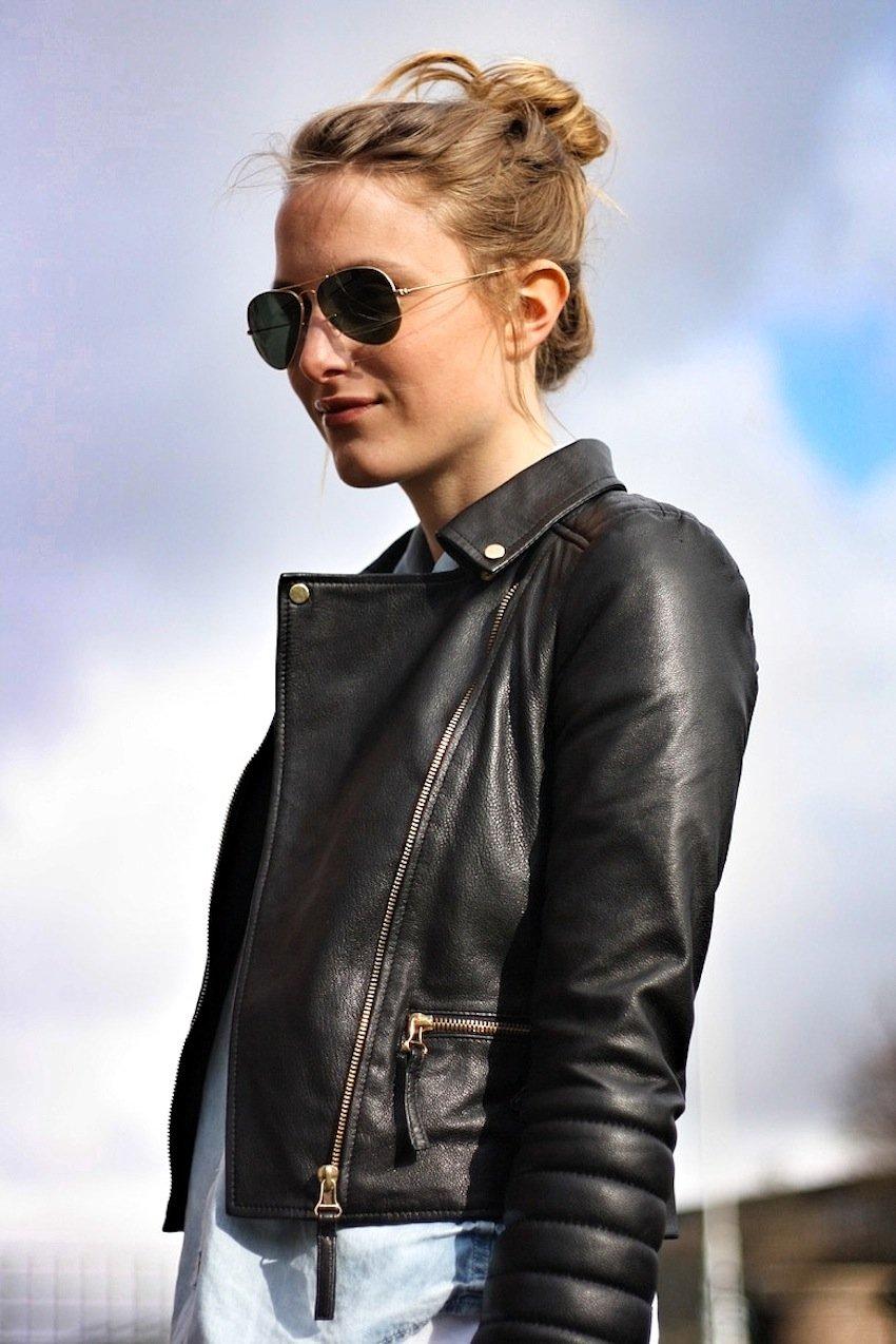 zara leather jacket-white jeans-michael kors bag