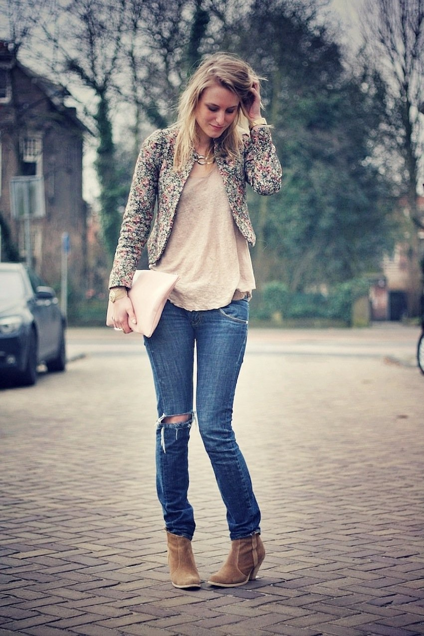 floral maison scotch jacket-distressed jeans-asos boots
