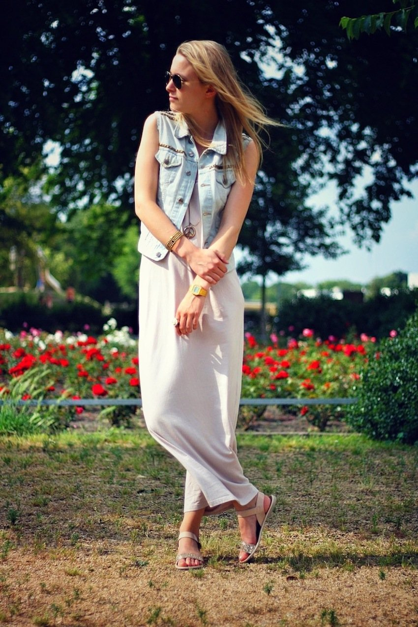 h&m maxi dress, zign sandals, diy denim vest