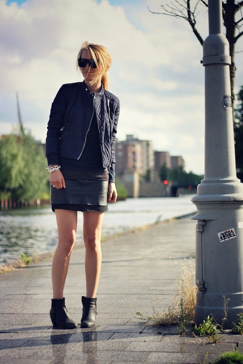 TOPSHOP JACKET-QUILTED JACKET-LEATHER SKIRT H&M-BOOTS