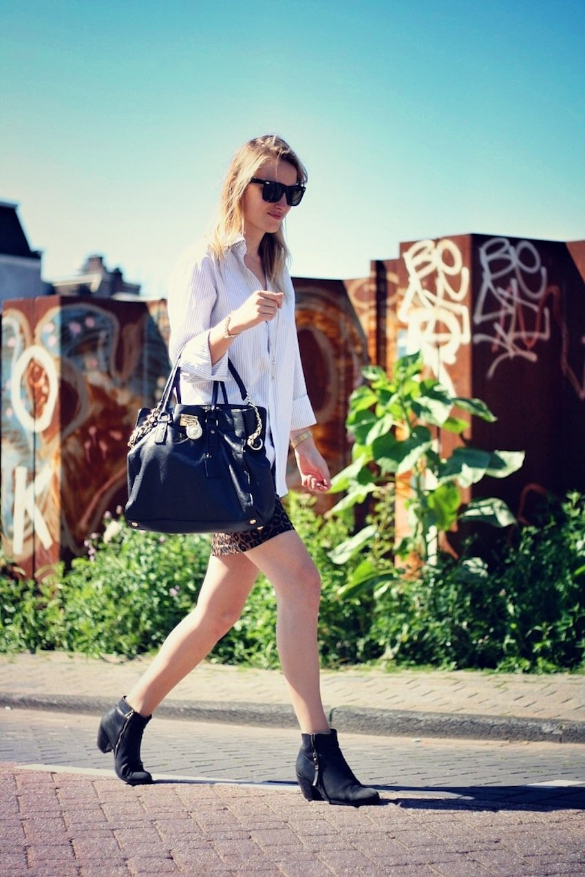 boyfriend shirt-leopard skirt-michael kors bag