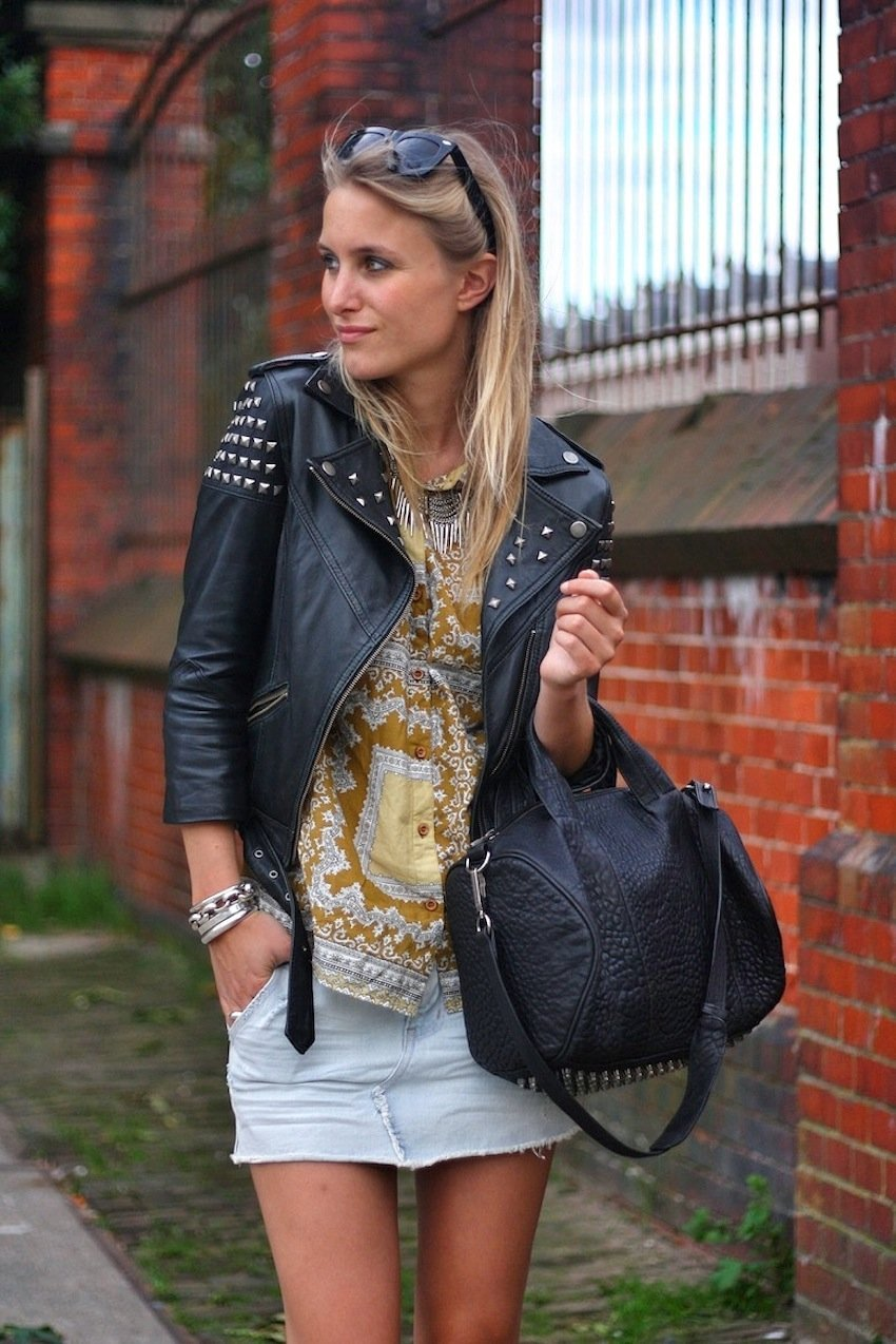 asos biker jacket-denim skirt-alexander wang rocco bag