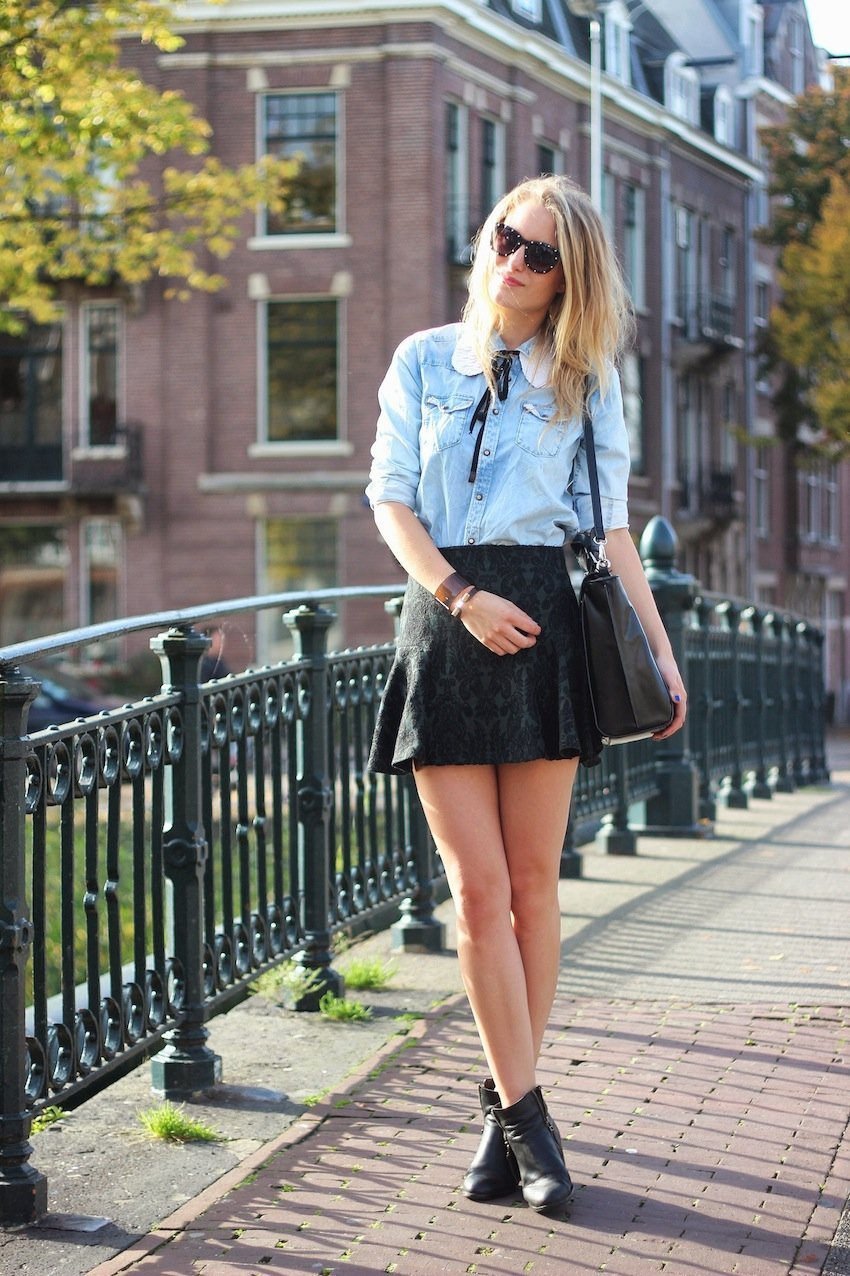 school girl-zara skirt-denim shirt-maison scotch