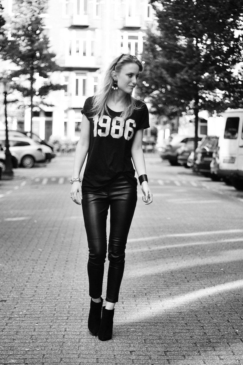 black and white-number tee-victorias secret-leather pants