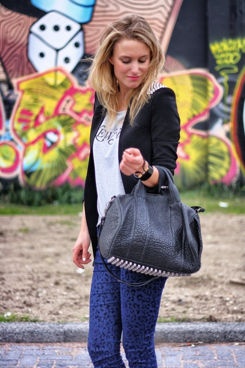 new york state of mind-leopard jeans zara-tshirt weekday-zara spike blazer