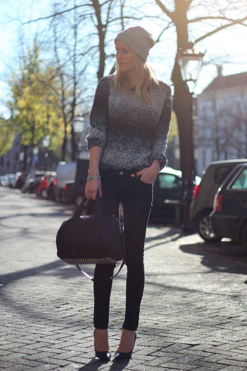 beanie-h&m sweater-knit-zara-skinny jeans