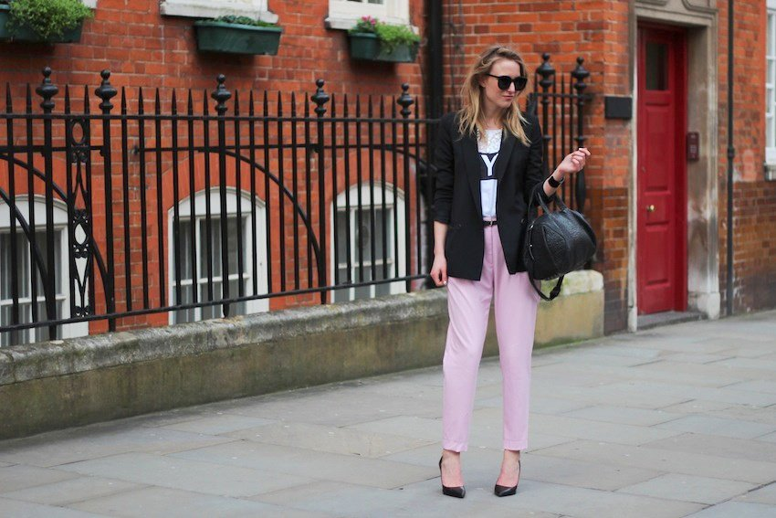 lfw-day 1-pink h&amp;m pants-nyc tee-alexander wang rocco bag