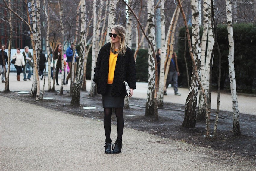 lfw-london fashion week-orange zara sweater-leather mango skirt