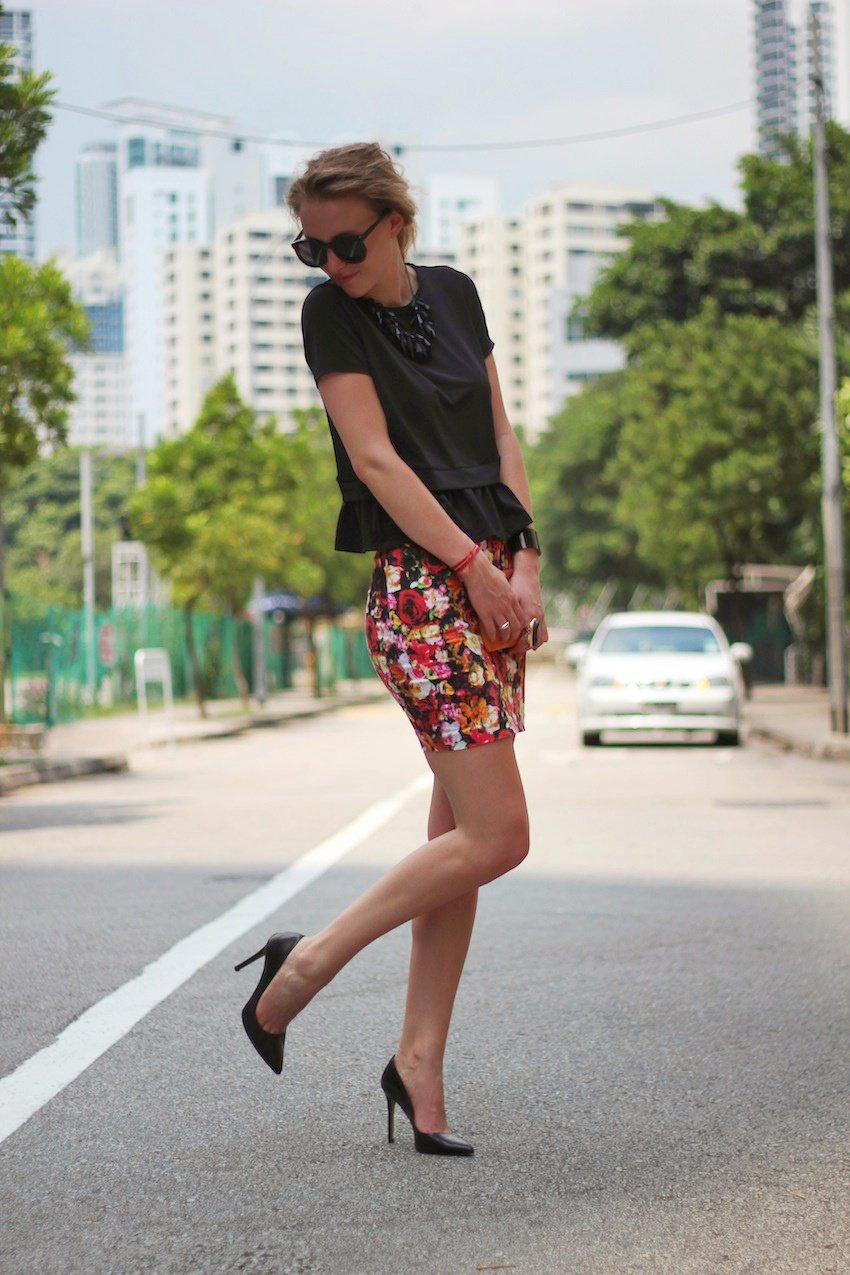 floral asos skirt-peplum top