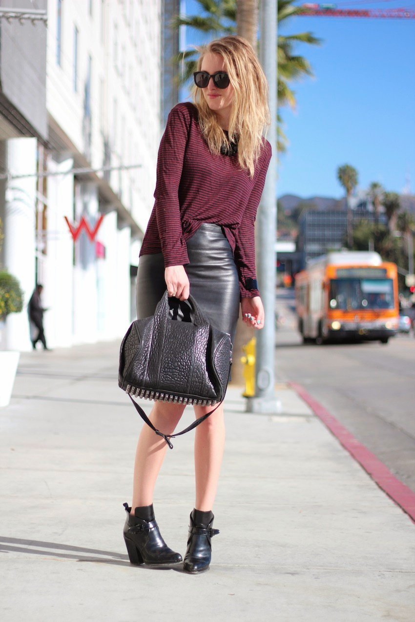 leather skirt mango-alexander wang top-rocco bag