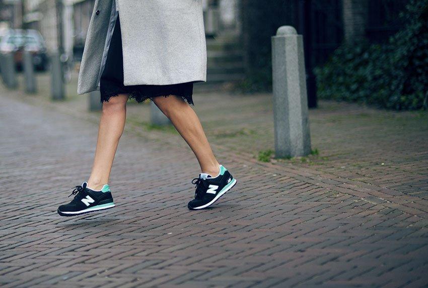 Zo  Hermsen - Monki Dress, Monki Sunglasses, New Balance Shoes - Black White